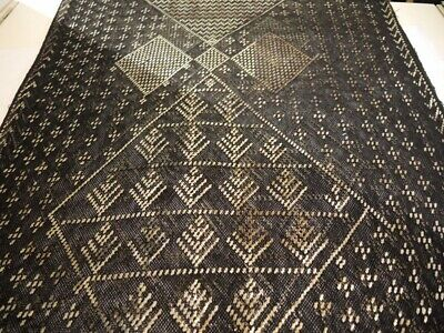 Art Deco Vintage Egyptian Assuit Silver Embroidered Shawl 2.3 metres long.