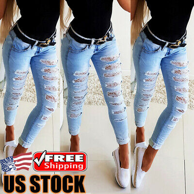 Women's Lace Ripped Denim Skinny Pants High Waist Stretch Jeans Pencil Trousers