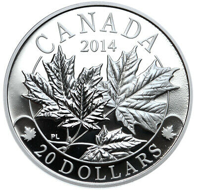 CANADA 20 Dollars 2014 Silver Proof 'Majestic Maple Leaves '