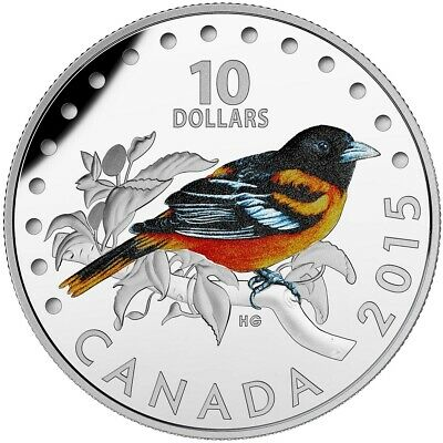 CANADA 10 Dollars 2015 Silver Proof Colourful Songbirds - Baltimore Oriole