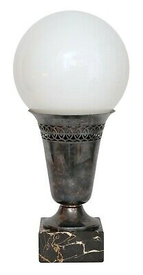 "Unique Art Deco Table Lamp "" White Sphere "" Silver Plated 1920"