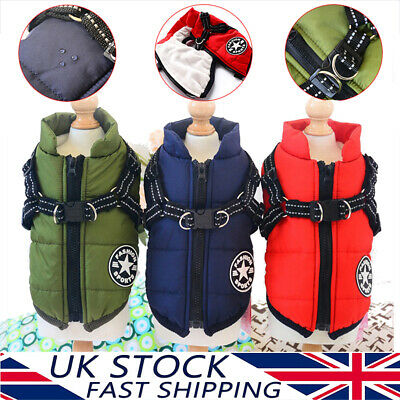 Dog Harness Pet Cat Waterproof Clothes Padded Coat Warmer Winter Jacket Top Vest