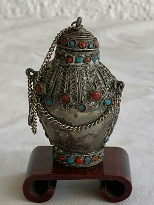 Vintage Chinese Silver Metal Beaded Opium Snuff Scent Decorative Bottle