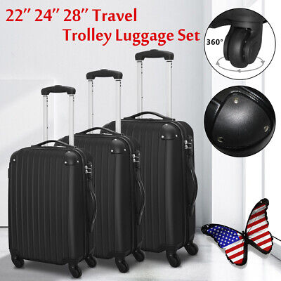 """20"""" 24"""" 28"""" Set of 3 Luggage Set Travel Bag ABS Trolley Spinner Suitcase w/ Lock"""