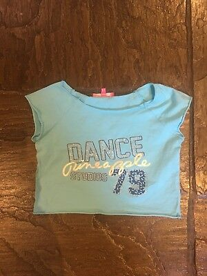 Girl's Pineapple Blue Short Sleeved Cropped T-Shirt Age 9-10 Years VGC