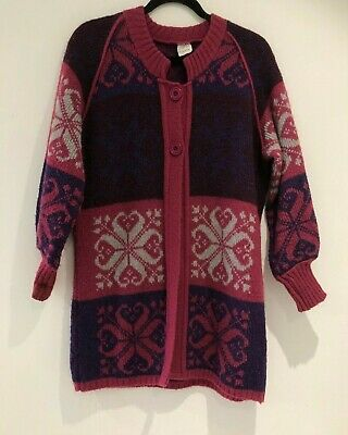 Vintage 80's Pink Purple & Grey Abstract Print Mohair Wool Cardigan Size Large