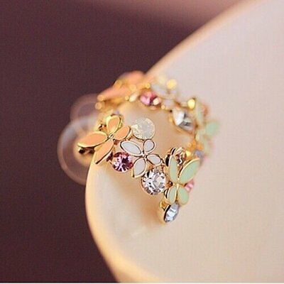 Fashion Women Elegant Crystal Rhinestone Flower Ear Stud Earrings Jewellery Gift