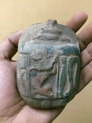 Rare EGYPT EGYPTIAN ANTIQUES SCARAB Beetle STELA Relief Carved Old STONE 2430 BC