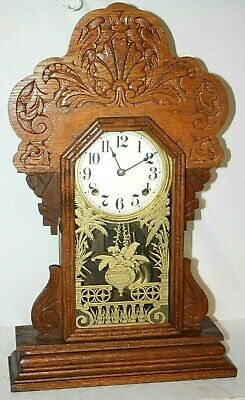 Antique Victorian Early 1900'S Pressed Oak Gingerbread Kitchen Mantel Clock