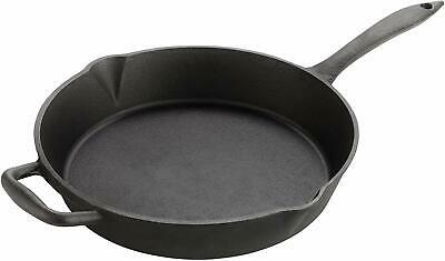 Versatile Heavy-Duty Large 12 inch / 30cm Cast Iron Round Skillet Frying Pan by