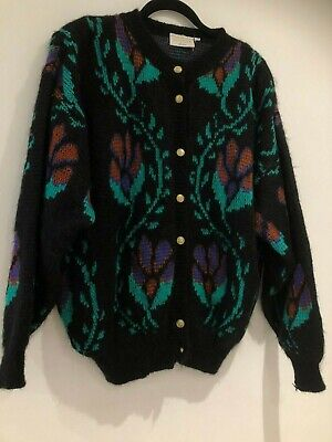 Vintage 80's Black Green Rust & Purple Floral Mohair & Wool Mix Cardigan Size 14