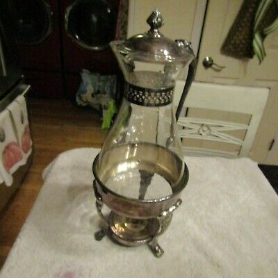 Vintage Mid Century Sheridan Silver Plated Glass Coffee Carafe Warming Stand