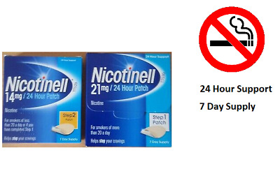 Nicotinell 7,14 and 21 mg / 24Hour Patches Nicotine Step 1, 2 & 3 - 7 Day Supply
