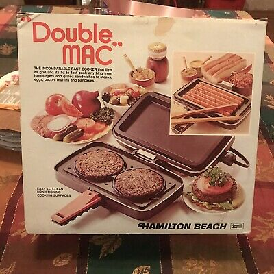 Vintage Hamilton Beach Double Mac Burger Cooker & More Joe Namath  NOS