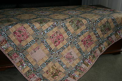 "**Hand Made Quilt ""ROSE BEAUTY"" Design by Quilt-Addicts 56"" square"