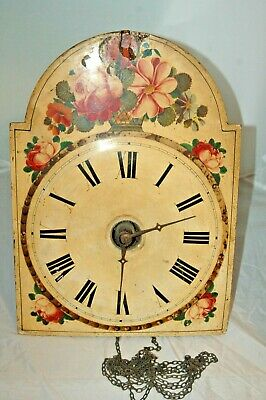 Antique,Rare Early Wall Clock Dial And Movement To Restore.