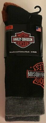 2 Pack Harley Davidson Reinforced Cotton Riding Socks Size L 9 - 13 NEW w/ Tags