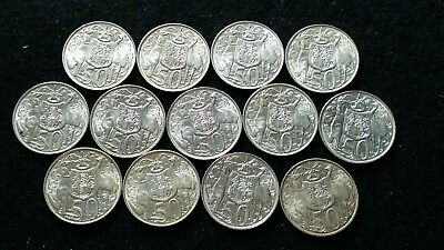 13 x 1966 Australian Silver Round 50 Cent Coins  80% Silver Content  NICE GRADE