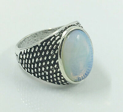 Hot Men's Woman 316L Stainless Steel Vogue Design Moonstone Ring Size 10