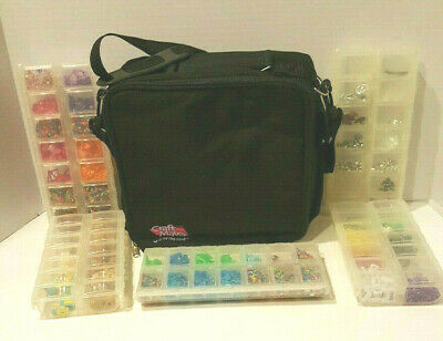 Large Black Craft Mates Bag with Five Double Locking Caddies-- Beads included!