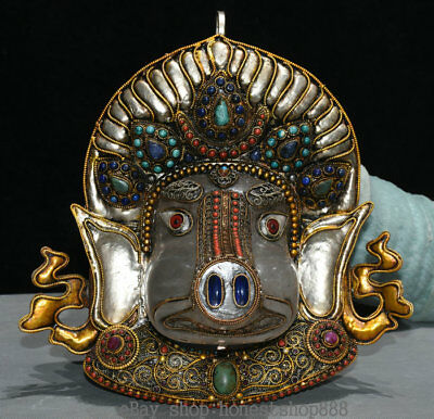 "11.2"" Old Tibet Filigree Crystal Jewel Ganesh Lord Ganesha Elephant God Statue"