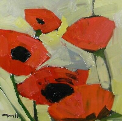 JOSE TRUJILLO Oil Painting Impressionism Red Poppies Flowers MODERNISM MINIMAL
