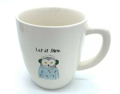 Rae Dunn - LET IT SNOW - Mug Owl Wearing Candy Cane Sweater Coffee Cocoa Winter