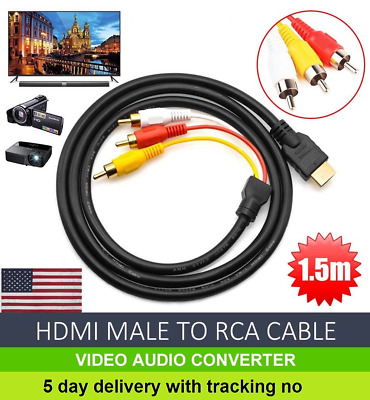 HDMI Male to 3 RCA AV video Audio Converter Composite Male Adapter Cable 1.5m US