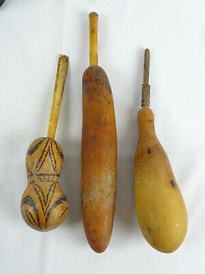 3 Oceanic Lime Containers from Gourd with asscociated carved  Spoons Oceania