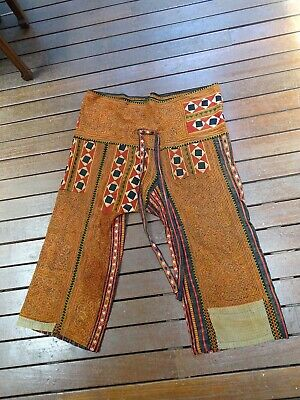 Rare Textile Collection - X Large Mens Embroidered Wool ethnographic Hippie Pant