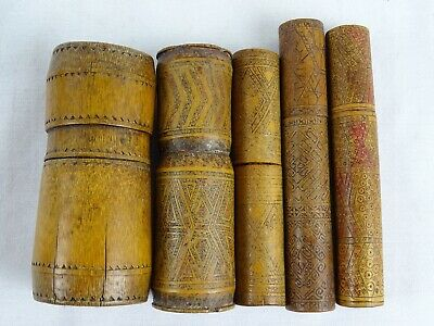 5 Tribal Lime Betelnut Hand Etched Bamboo Timor Indonesia Tempat Kapur Container