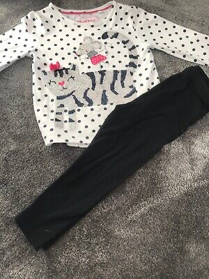 Girls Blue Zoo Top And George Leggings Outfit Age 2-3years