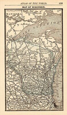 1888 Antique WISCONSIN Map RARE MINIATURE Size Map of Wisconsin State Map 7240