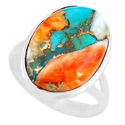 sale 13.70cts spiny oyster arizona turquoise solitaire ring size 9 p69145