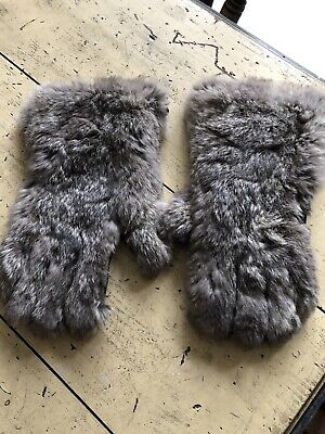 True Vintage Grey Fur And Leather Gloves C1940s