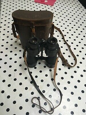 Vintage ROSS OF LONDON Binoculars In Brown Leather Case With Strap