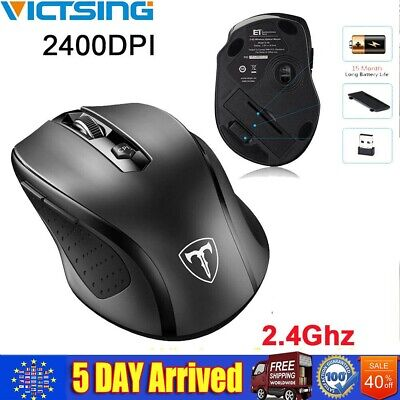 VicTsing 2.4GHz Wireless Optical Mouse Ergonomic Gaming PC Mice + USB Receiver