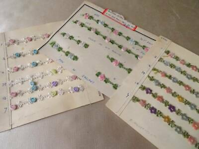 3 Wonderful Ribbon Work Sample Cards ~ Antique Dolls Clothes Trim