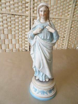 Beautiful Antique Bisque French 19th Century Large Statue Of The Madonna