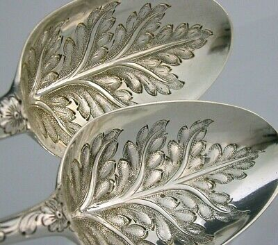 Rare Early 1751 Solid Silver Leaf Bowl Berry Serving Spoons Antique Georgian