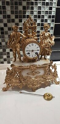 Antique Gold Gilded ,Chiming , Spelter Clock With Key And Pendent