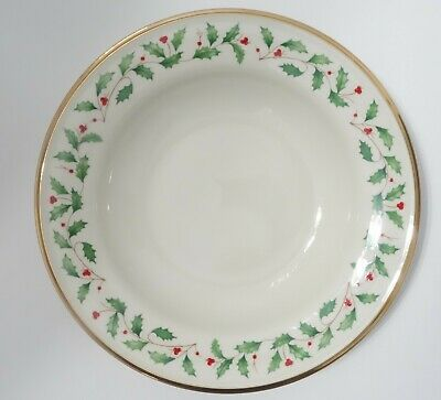 """Lenox Holiday Soup Pasta Bowl Holly Berry & Gold Rim 9"""" - Never Used W/ Tags"""