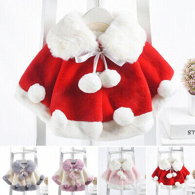 2020 Baby Girls Winter Warm Cape Toddler Coat Cloak Jacket Fur Outerwear Clothes