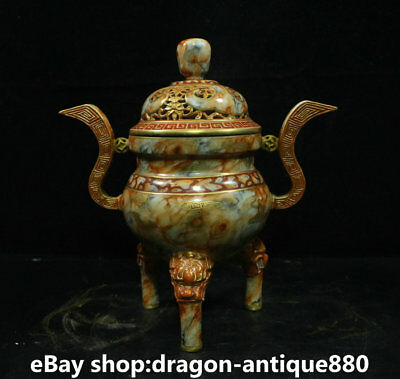 "8"" Qianlong Marked Old China Qing colour enamels Porcelain Handle Incense Burner"