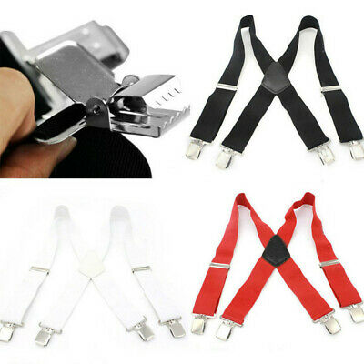 Mens Womens Clip On Suspenders Casual Cross Strap Elastic Wide Work Party Braces