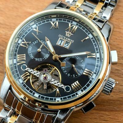 Mens Flywheel Stainless Quality Luxury Bling Skeleton Mechanical Automatic Watch