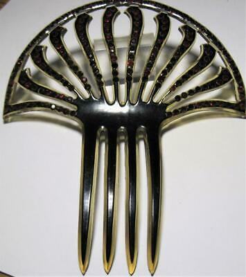 Old Deco Celluloid Hair Comb Faux Jewels Red