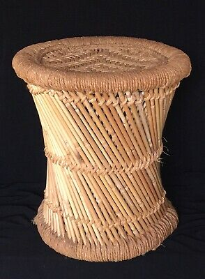 Mid Century Modern Bamboo Woven Raffia Drum Foot Stool Plant Stand