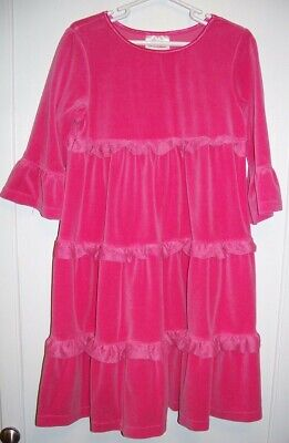 HANNA ANDERSSON hot pink velour tiered dress; bell sleeves~sz 120~girls sz 6-7-8