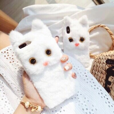 Cute Cat Doll Plush Cover Fur Fluffy Phone Case For iPhone Max XS XR 6s 7 8 Plus